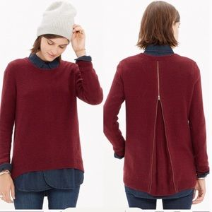 Madewell Back-Zip Pullover Sweater in Maroon, L